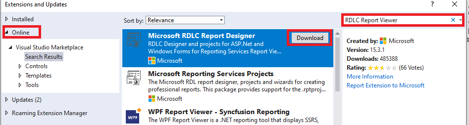 Extensions Manager showing search results for Microsoft RDLC Report Designer.
