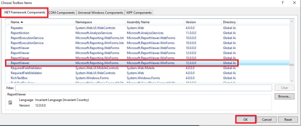 Visual Studio Toolbox - Choose Toolbox Items showing the ReportViewer component checked