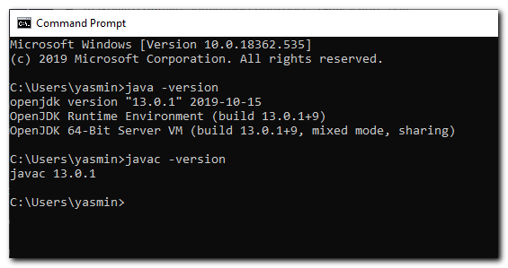 command-prompt-java-version
