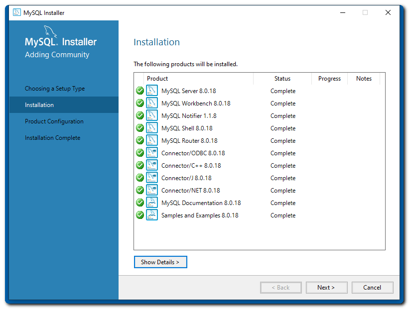 my-sql-products-installed
