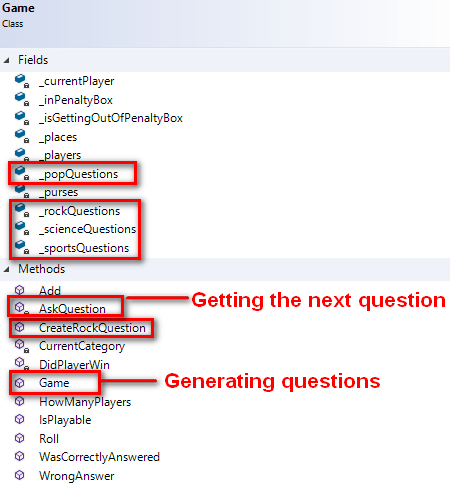 Game class diagram - identifying all members having to do with Questions