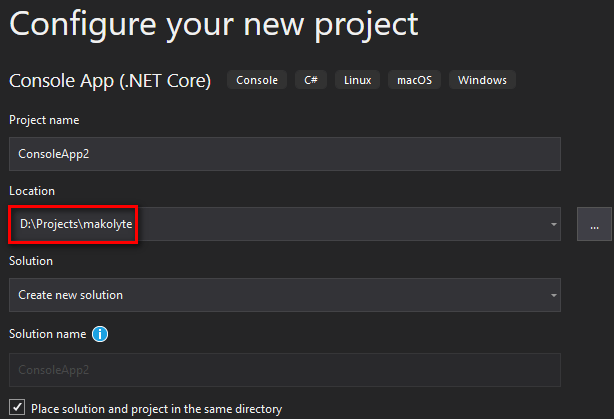 Visual Studio showing create new project dialog with new default location