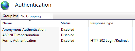 IIS Manager Authentication configuration section - missing Windows Authentication