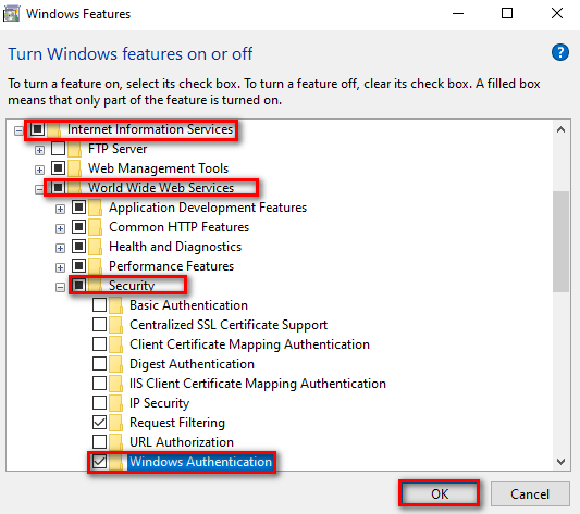 Windows Features - Turning on the Windows Authentication feature for IIS