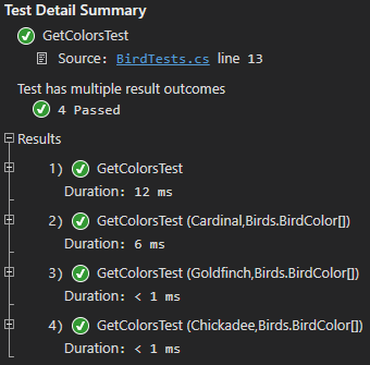 Test Detail Summary showing the GetColorsTest unit tests passing after the refactoring step