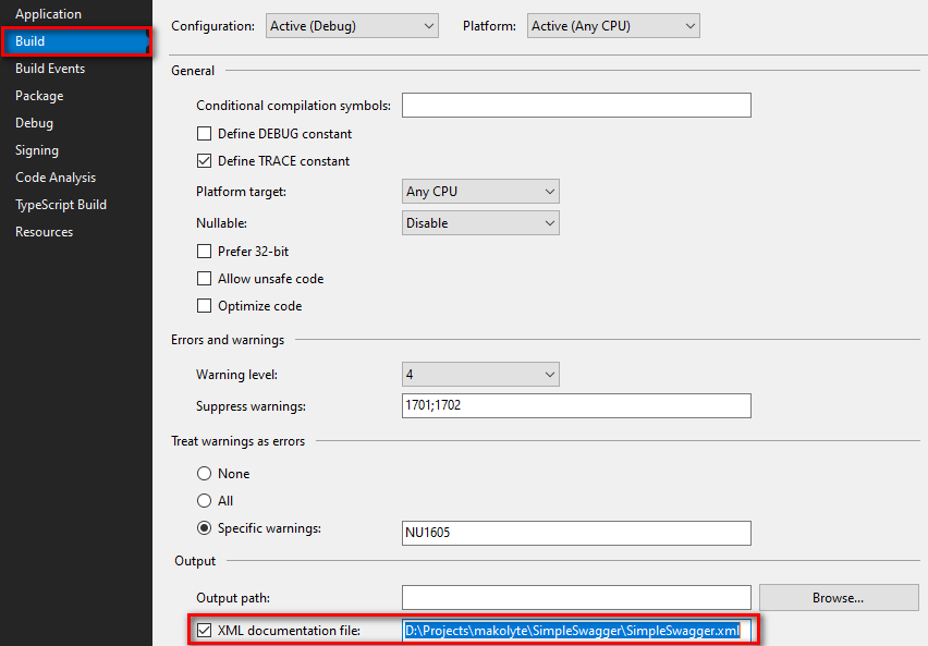 Visual Studio project build properties - putting a check on the XML documentation file option
