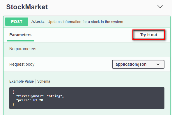 Swagger API doc - clicking Try it out to send a request to your endpoint
