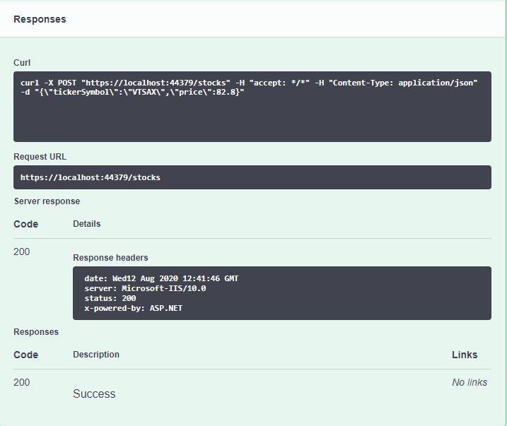 Swagger API Doc page showing the response of sending a request to your API