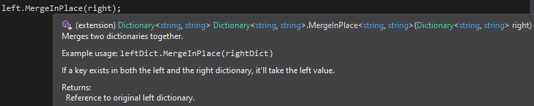 Intellisense showing XML documentation comments for the MergeInPlace() method