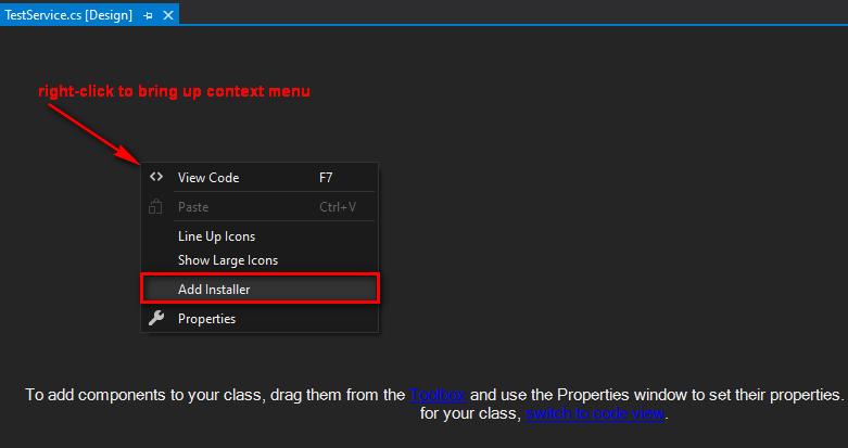 Service component design mode, right-click and click Add Installer