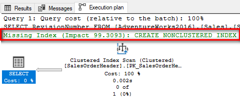 Execution plan showing missing index