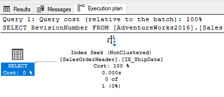 Execution plan showing it did an index seek