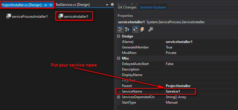 After adding the installer, the ProjectInstaller.cs component will pop up in design mode. Click on serviceInstaller1 and fill in the ServiceName property