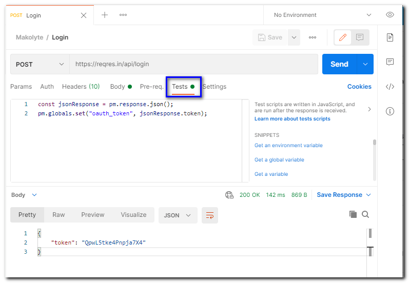 postman-login-request-tests-tab - saving the token from the response into the oauth_token global variable