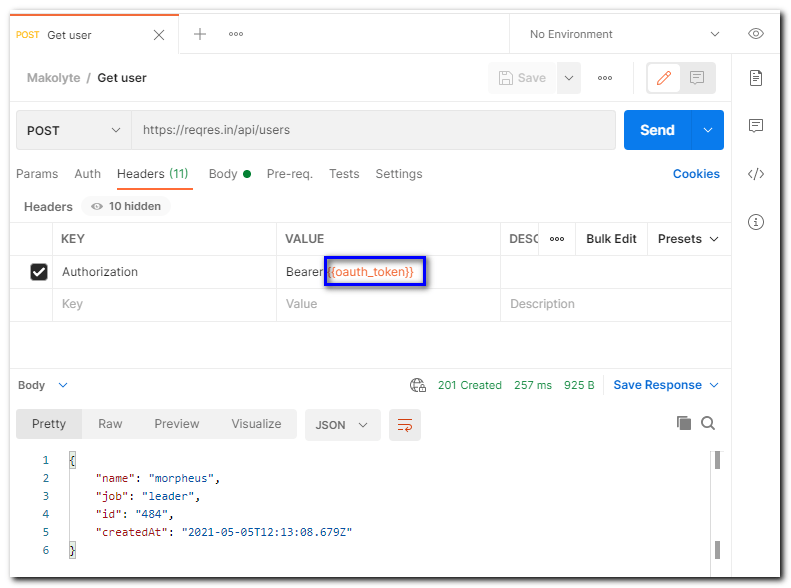 postman-user-request-headers - using the oauth_token global variable that was saved from the response