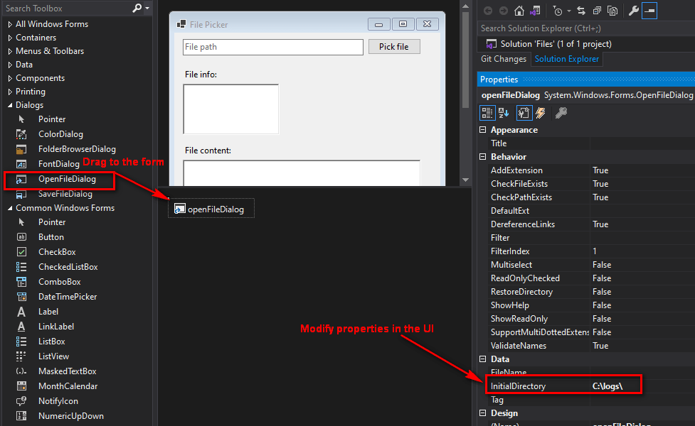 Shows the OpenFileDialog control in the Toolbox, and shows this control dragged to the form with its property list opened. The InitialDirectory property is set to C:\logs\
