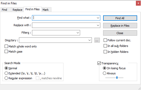 Notepad++ Find in Files window