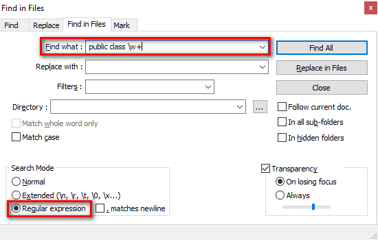 """Notepad++ Find in Files window with regex """"public class \w+"""" specified in the Find what textbox"""