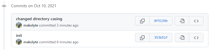 Commit history in GitHub for files in a renamed directory